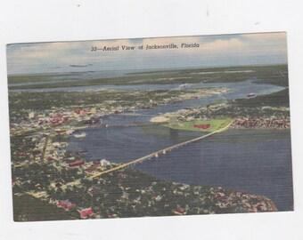 Vintage 1956 post card Aerial view of Jacksonville, Florida