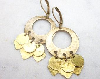 Raw brass hoop earrings, geometric hammered dangle earrings, boho circle drop earrings, bohemian metal earrings, gold brass modern earrings