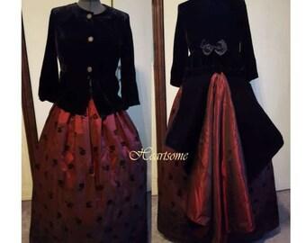 Victorian Regency fashion dress gown costume ensemble Black velvet, wine 3 pc w bustle