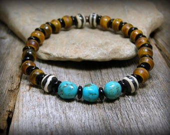 Mens Beaded Bracelet, Turquoise Stretch Bracelet, Stripe Bone and Gemstone Bracelet, Native American Inspired Bracelet for Men