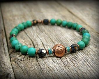 Mens Bracelet, Turquoise Bracelet, Matte Stone Bracelet, Black Picasso Jet Czech Crystal Bracelet, Bracelet for Men, Bead Stretch Bracelet