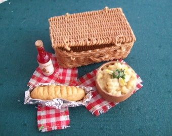 Miniatures, one inch scale, hand made Picnic Basket with food and drink.