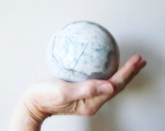 blue calcite marble sphere globe healing stone throat chakra Vishuddha earth day