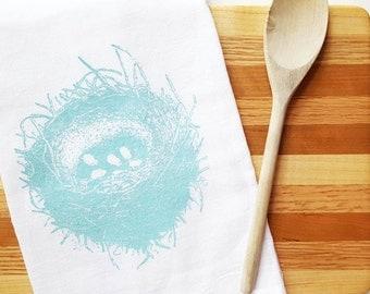 Turquoise Nest Tea Towel Cotton Flour Sack Towel Kitchen Cottage Decor Rustic Housewarming Teacher Gift under 10 Dollars Nashville Tennessee