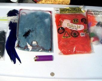 Assorted Feathers Clearance sale lot - blue black orange estate sale fluff  - hair destash barret hat  grab bag coyoterainbow %fe939