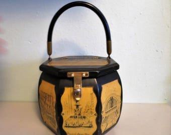 1970s Decoupage Wood Box Purse - Cincinnati Ohio