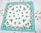 Vintage Handkerchief - Vintage Hanky - Hankie  Floral Hanky  Aqua Roses 1960s Cotton Mother of Bride Gift Shower Favors Quilt Supplies