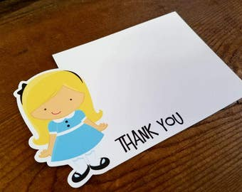 Alice in Wonderland Party - Set of 8 Alice Thank You Cards by The Birthday House