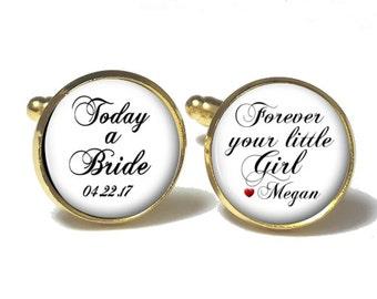 Father of the Bride Cufflinks, Personalized Cufflinks, Wedding Cuff links, Style 683