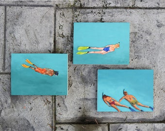 "Triptych Set of three original 6x8"" oil paintings by Daina Scarola - Floating (snorkeling, ocean art, turquoise water, vacation, friends)"