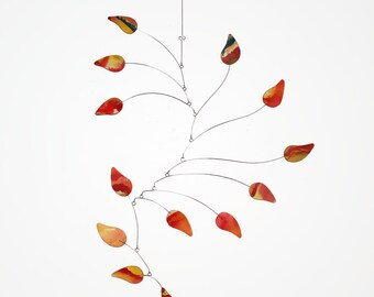 Tall Hanging Mobile READY TO SHIP - Petals - Kinetic Calder Inspired - 21w x 35t - Art Mobile for Whimsical Home - Orange Pink Yellow Teal