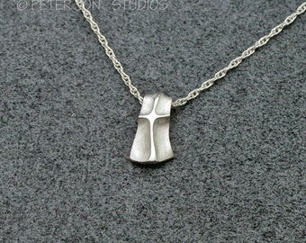 """Shield Cross Pendant, Small, Handmade Christian Necklace in Sterling Silver, includes 18"""" chain"""