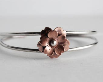Cherry Blossom Cuff, Double layer cherry blossom in copper and sterling silver, handmade by Hapa girls, Gifts for mom, Mothers day gifts
