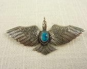 Vintage Sterling Turquoise Eagle Brooch