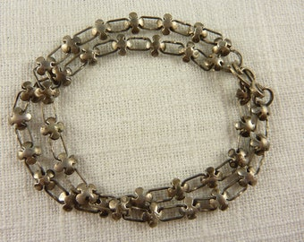 Antique Sterling Flower Petal Links Double Bracelet
