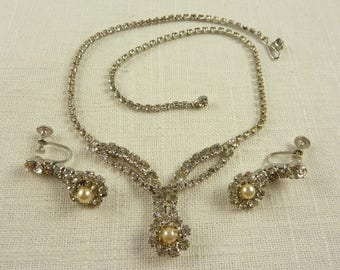 Vintage Taylor Maid Demi Parure Set of Rhinestone and Faux Pearl Necklace and Clip On Earrings