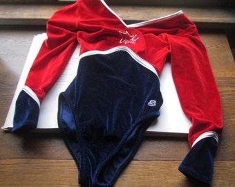 Vintage Leotard * 1980's / 90's Leotard * Satara Leo's LTD * Size JS * Red White Blue * Olympic Sport *  Girls Competition Wear * Sparkle *
