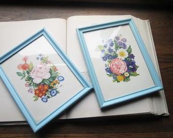 Matching Vintage Botanical Prints, Framed Art Botanicals, Floral Prints, Baby Blue Picture Frames, Nature Art, 1950's Framed Floral Prints