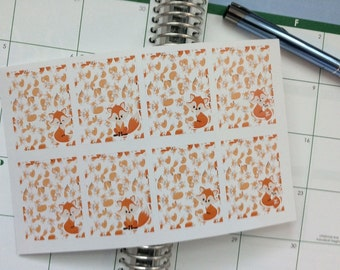8 Full Box Stickers Foxes Perfect for Erin Condren Life Planner & Other Planners Fox Stickers