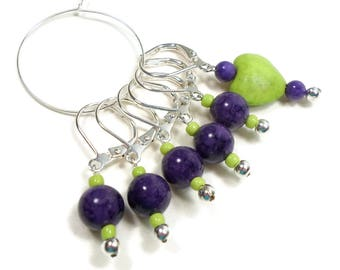 Removable Stitch Marker Set Crochet Row Markers Dark Purple Lime Green Heart Locking Knitting Supplies DIY Crafts Gift for Crochet