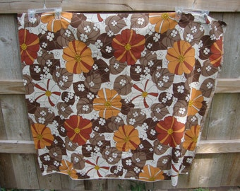 Vintage Mod Flower Power Retro Fabric Brown and Orange Tones/Crafts/Pillows/Bags/Totes/Valance
