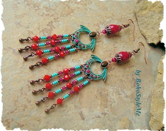Gypsy Boho Earrings, Bright Festive Earrings, Beaded Dangle Earrings, Colorful Bohemian Earrings, BohoStyleMe, Kaye Kraus