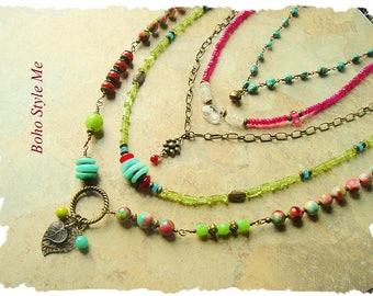 Boho Style Colorful Statement Necklace, Layered Bohemian Necklace, Multi Gemstone Necklace, Boho Style Me, Kaye Kraus