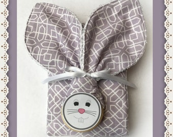 Baby Shower Gift Set Purple Bunny Teether and Burp Cloth Free Shipping