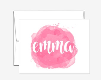 Personalized Stationery -  Watercolor Swatch - Folded Note Cards