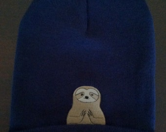 Beanie Embroidered Sloth Namaste in Navy Blue One Size Fits Most
