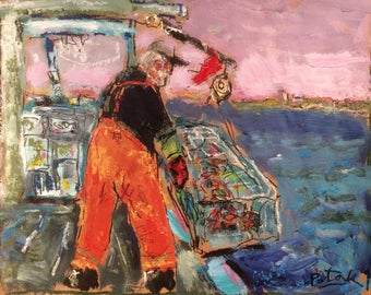 Lobsterman,  11 x 14 inches Maine, Cape Cod, lobster boats,  harbor cove FREE SHIPPING Painting, dock, impressionist acrylic art, sea town