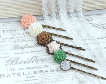 Peach Flower Hair Pins Pastel Hair Pins Flower Hair Pin Set Wedding Flower Pins Set Of 6 Hair Pins
