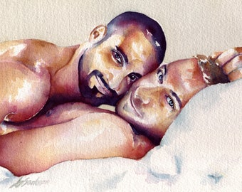 """Male Lovers Cuddling in Bed on a Sunny Afternoon - 8x10"""" Signed Art Print"""