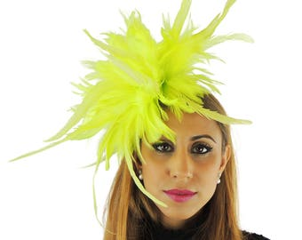 Unstripped Bright Lime Green Fascinator Hat for Weddings, Races, and Special Events With Headband