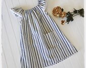 Girls boho style dress, blue and white SIZE 2 T- LAST ONE french country style dress for girls, toddlers, babies. Summer dress