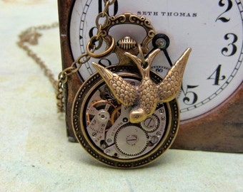STeampunk pocket watch necklace - Steampunk Necklace - Repurposed Art