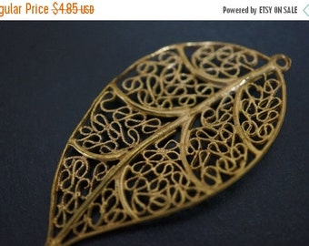 DECEMBER SALE Vintage High Quality Solid Brass 3D Extra Large Filigree Leaf Charm Pendants Usa Made Over 2 Inches - 1 piece