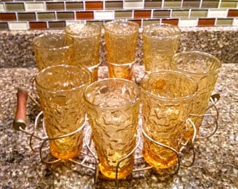 Anchor Hocking /  Lido Milano Gold / 8 Gold Glasses / Glasses and Carrier / Retro Water Glasses / 10 ounce Glasses / Retro Glassware
