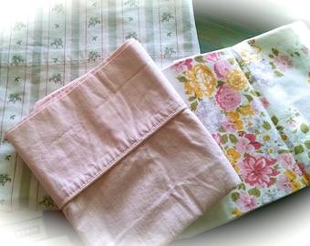 Double Flat Sheet / Sheet  Pillowcases / ReMix Full Sheet Set / Vintage Sheet Set / Retro Bedding / Re Mix Sheets / ReMix Bed Linens