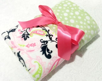 CLEARANCE SALE-NOW just 20 dollars -Ready to Ship -Minky Baby Blanket -Pink and Black Paisley with Light Green Bubble Dot Minky- Crib  Size