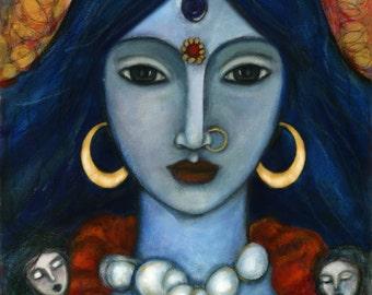 Hindu Goddess - Kali - inspirational wall art - Goddess of Renewal - Goddess Art Collection - Hinduism - gift for her - Boho - handmade