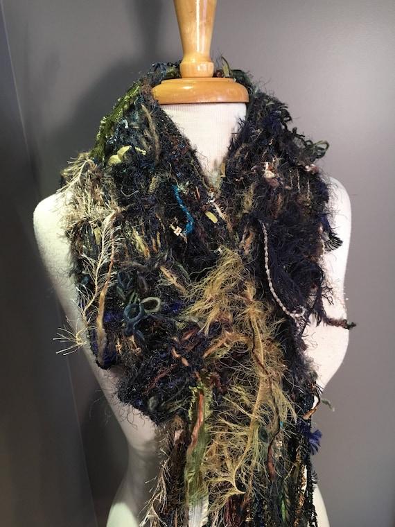 Knit Fringe art scarf, Dumpster Diva Series, 'Dark Forest', funky fringed knit scarf, black blue olive, brown, boho chic, fringed wrap, gift