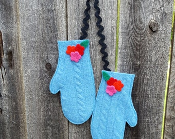 Rescued Wool Mittens Ornaments - Matching Pair in Blue Cable knit Wool - recycled sweater wool