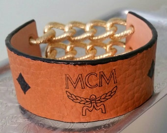Recycled Munchen MCM wrist band bracelet - OOAK made by Posh Rock Vintage
