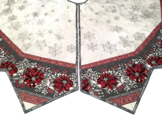 Large Christmas Tree Skirt Quilt Red And Silver Poinsettias