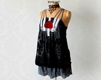 Sparkly Evening Top Black Burnout Velvet Women's Art Clothing Thin Straps Layers Tiers Bohemian Chic Blouse Gypsy Boho Shirt S M 'JAIMIE'