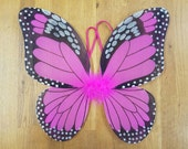 """Pink Butterfly Wings - Hot Pink Monarch Butterfly Wings - Butterfly Costume Wings - Kids Butterfly Wings - Toddler Butterfly Wings - 13""""x15"""""""