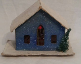 Vintage paper church, for Christmas tree,  lights up when string light inserted in back