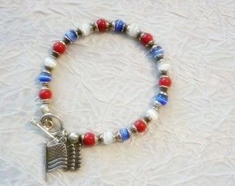 Sterling Flag Red White and Blue Bracelet-Americana jewelry-Patriotic Bracelet,Military Bracelet