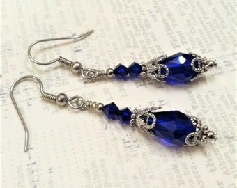 Cobalt Crystal Earrings, Antique Silver Filigree Earring, Juliet Earring, Vintage Wedding, Ren Faire, Mother of The Bride, Cobalt Blue